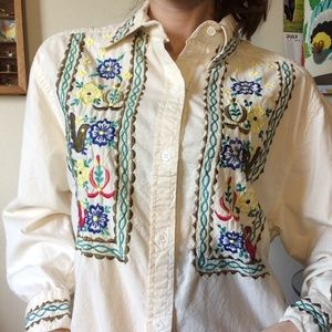 NAQUI Embroidery Colorful Birds Cotton Button Up